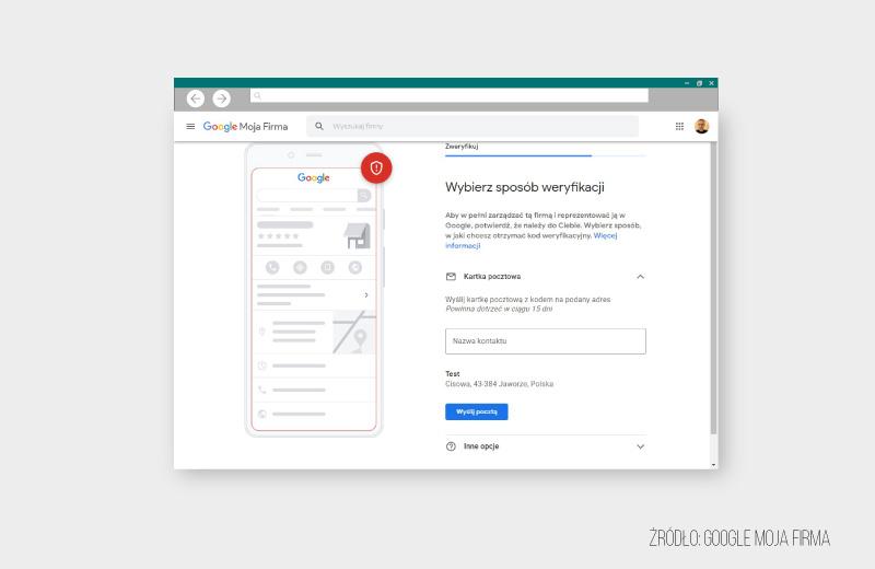 Weryfikacja wizytówki Google zadresem